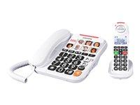 SWISSVOICE Xtra 3155 EU Tischtelefon inkl. zus. Mobilteil und Anrufbeantworter 8 Fototasten inkl. SOS-Taste Sprachausgabe extra laut
