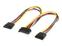 0,2m internes Stromkabel SATA Kupplung > 2x SATA Stecker