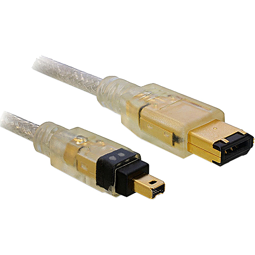 2m FireWire 400-Kabel 4pol. Stecker auf 6pol. Stecker