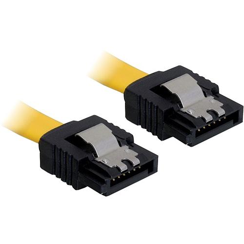 0,2m SATA-Kabel Metall gerade gelb