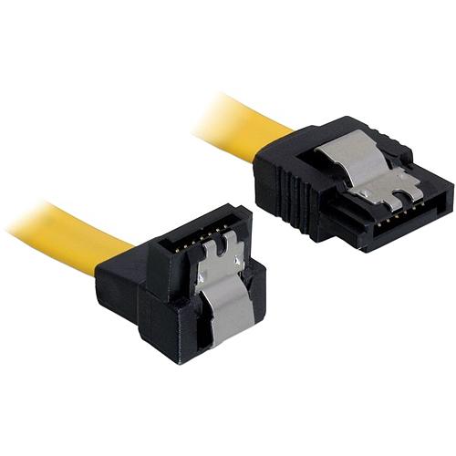 0,2m SATA-Kabel Metall unten/gerade gelb